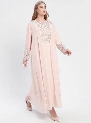 Powder - Fully Lined - V neck Collar - Muslim Plus Size Evening Dress