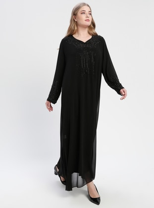 Black - Fully Lined - V neck Collar - Muslim Plus Size Evening Dress