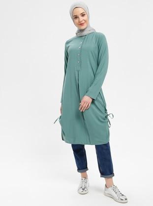 Green Almond - Button Collar - Viscose - Tunic