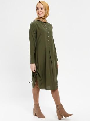 Green - Khaki - Button Collar - Viscose - Tunic