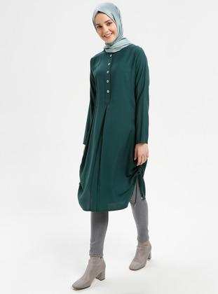 Green - Emerald - Button Collar - Viscose - Tunic