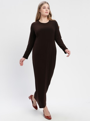 Brown - Unlined - Crew neck - Plus Size Dress