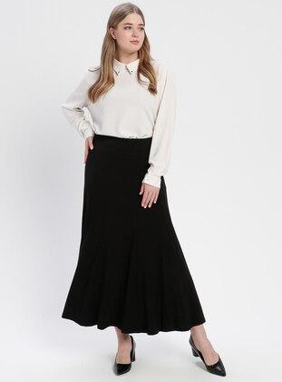Black - Unlined - Cotton - Plus Size Skirt