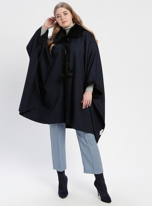 Navy Blue - Point Collar - Plus Size Poncho