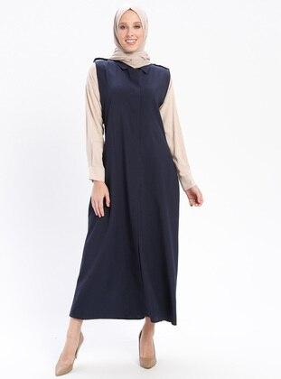 Navy Blue - Unlined - Point Collar - Vest