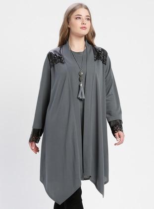Gray - Crew neck - Unlined - Plus Size Suit