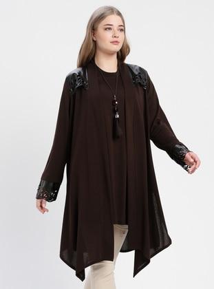 Brown - Crew neck - Unlined - Plus Size Suit