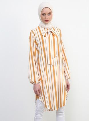 White - Mustard - Stripe - Crew neck - Tunic