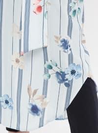 Blue - Multi - Point Collar - Viscose - Tunic