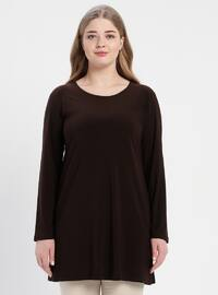Brown - Crew neck - Cotton - Plus Size Tunic