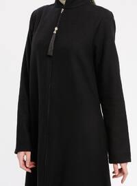 Black - Unlined - Crew neck - Coat