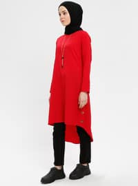 Red - Crew neck - Tunic