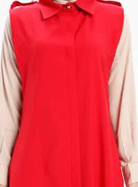 Red - Unlined - Point Collar - Vest