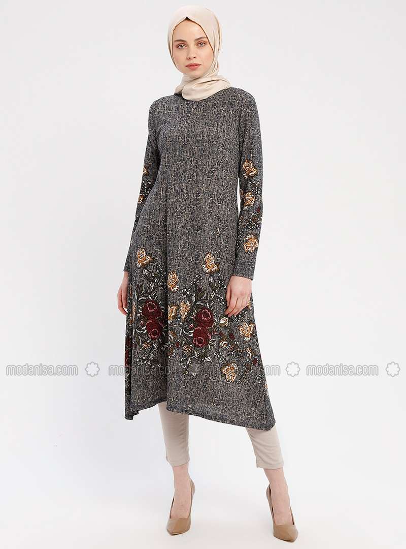 Navy Blue - Floral - Multi - Crew neck - Tunic - ZENANE