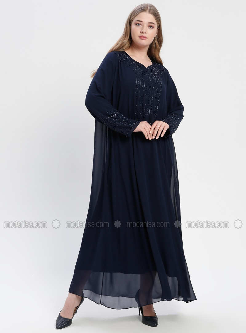 Navy Blue Fully Lined V Neck Collar Muslim Plus Size Evening Dress