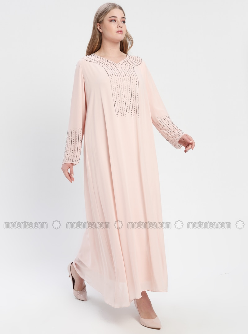 Powder - Fully Lined - V neck Collar - Muslim Plus Size Evening Dress