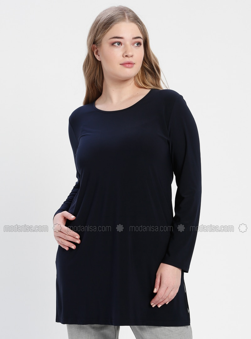 Navy Blue - Crew neck - Cotton - Plus Size Tunic