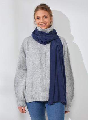 Cotton - Navy Blue - Turquoise - Plain - Shawl Wrap