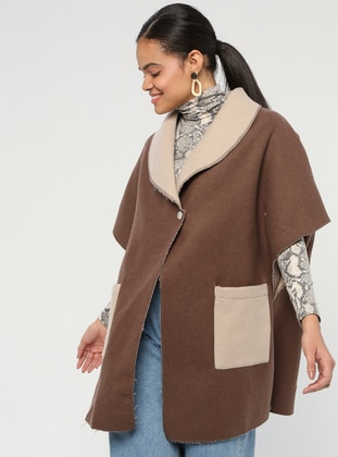 Brown - Shawl Collar - Unlined - Wool Blend - Poncho