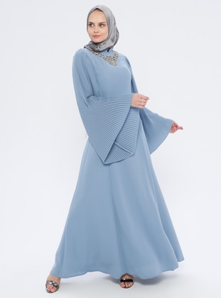 Blue - Indigo - Fully Lined - Crew neck - Muslim Evening Dress