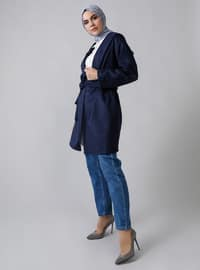 Navy Blue - Unlined -  - Coat