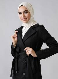 Black - Unlined - Shawl Collar -  - Coat