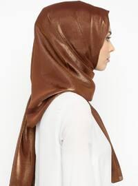 Brown - Golden tone - Plain - Shawl