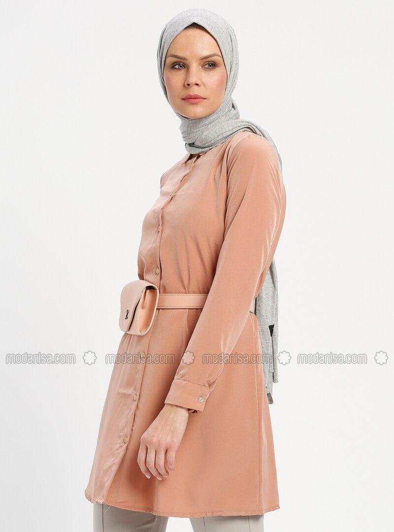 Camel - Button Collar - Tunic