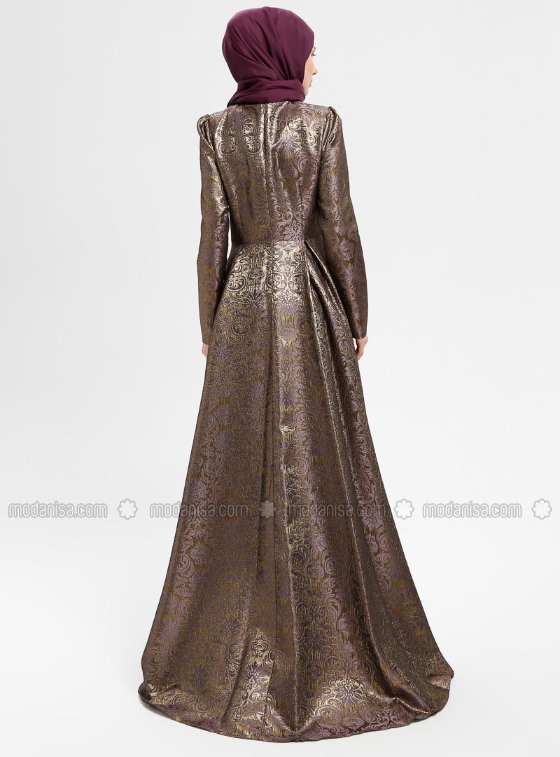 9f3c4507842 Purple - Gold - Multi - Fully Lined - Crew neck - Muslim Evening Dress