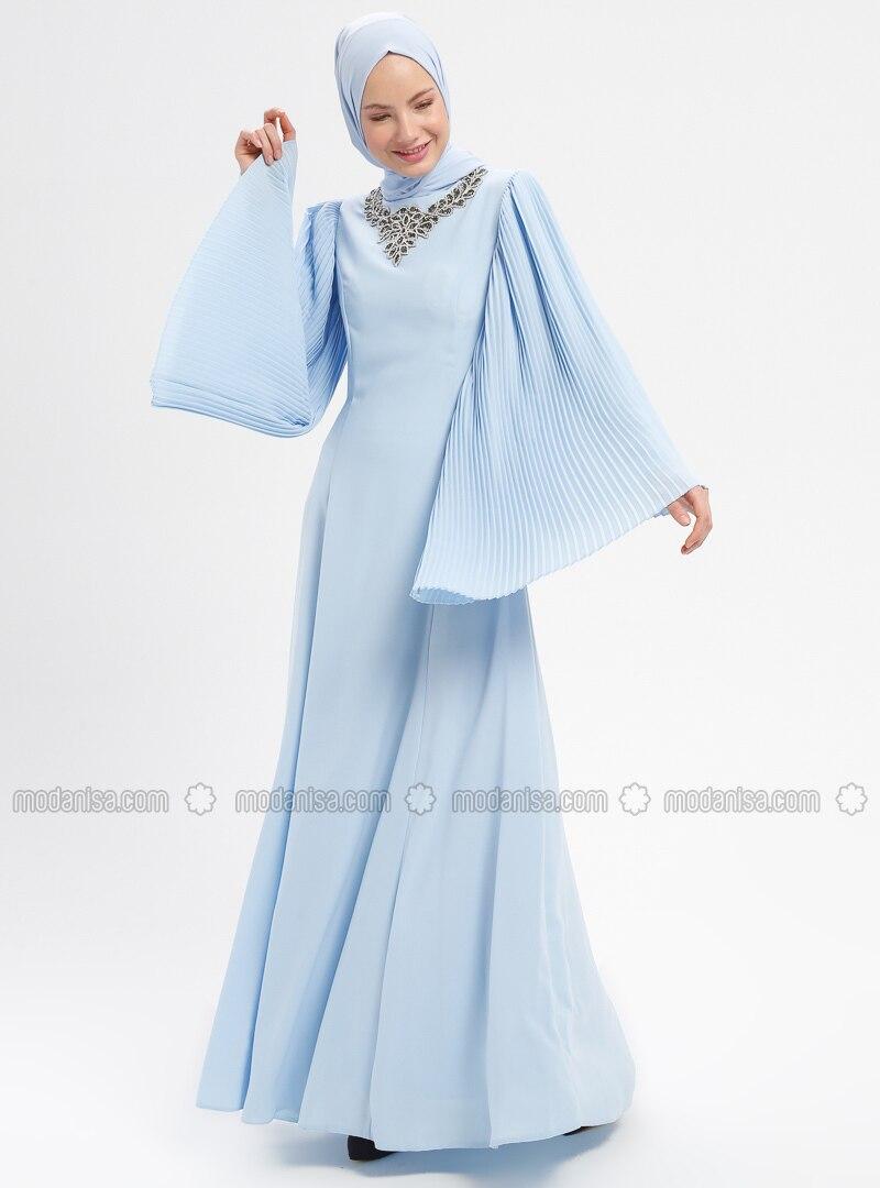 c85f8bfbf3 Blue - Fully Lined - Crew neck - Muslim Evening Dress. Fotoğrafı büyütmek  için tıklayın