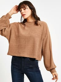 Brown - Crew neck - T-Shirt