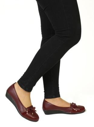 Maroon - Flat - Shoes