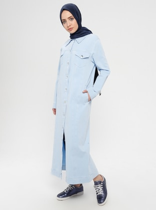 Baby Blue - Unlined - Point Collar - Cotton - Denim - Jacket