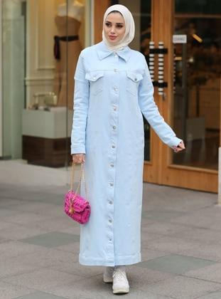 Baby Blue - Unlined - Point Collar - Cotton - Denim - Jacket