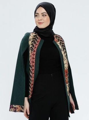 Green - Multi - Fully Lined - Poncho