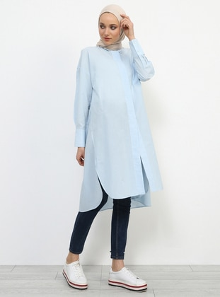 Blue - Baby Blue - Point Collar - Cotton - Tunic