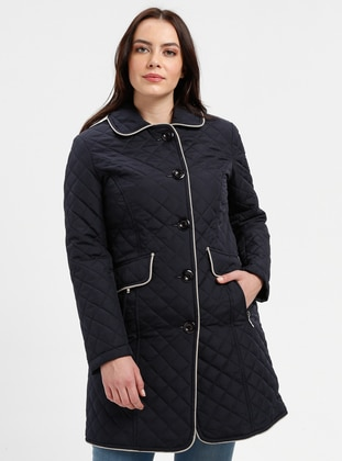 Navy Blue - Fully Lined - Plus Size Overcoat - BUTİK VEDAT