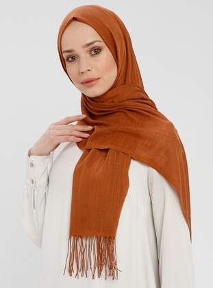Tan - Terra Cotta - Plain - Fringe - Shawl