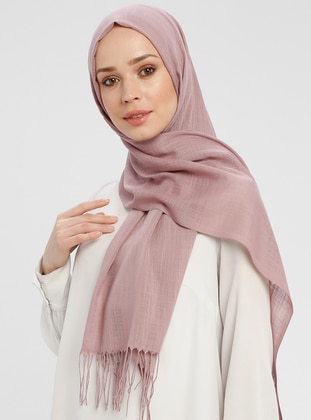 Dusty Rose - Plain - Fringe - Shawl