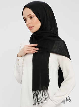 Black - Plain - Fringe - Shawl