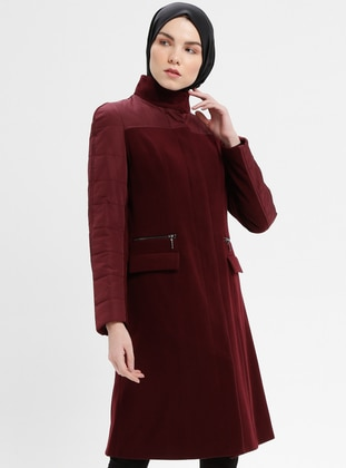 Maroon - Cherry - Fully Lined - Polo neck - Coat