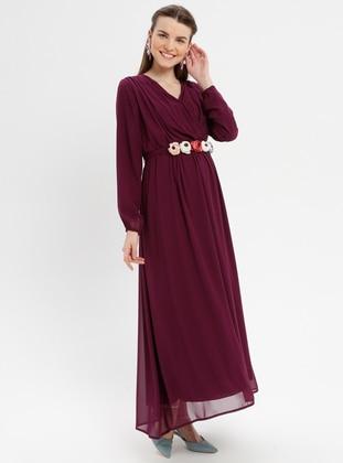 Plum - Crew neck - Fully Lined - Maternity Dress - Havva Ana