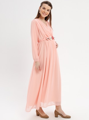 Salmon - Crew neck - Fully Lined - Maternity Dress