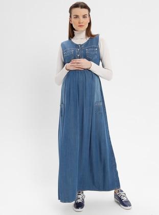 Blue - Navy Blue - Unlined - Denim - Maternity Dress