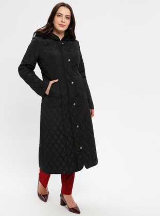Black - Fully Lined - Plus Size Overcoat - BUTİK VEDAT
