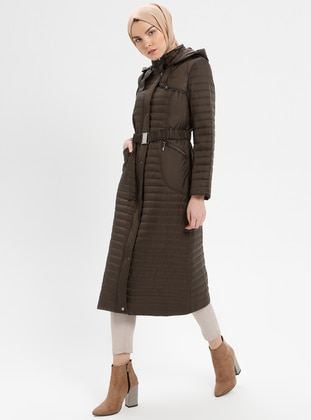 Khaki - Fully Lined - Polo neck - Coat