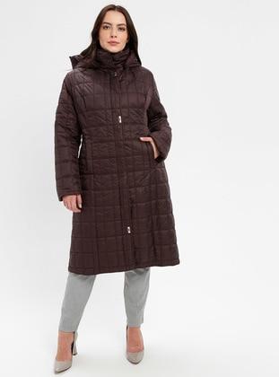 Plum - Fully Lined - Plus Size Overcoat - BUTİK VEDAT
