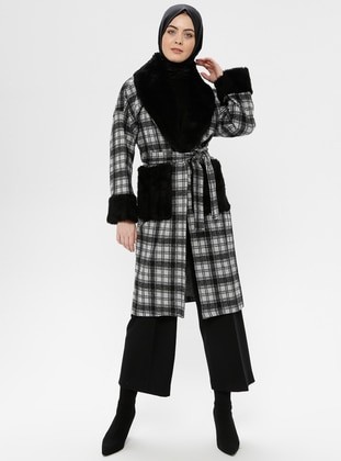 Black - Plaid - Unlined - Shawl Collar - Coat