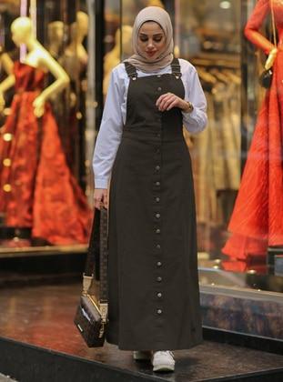 Khaki - Unlined - Cotton - Dresses