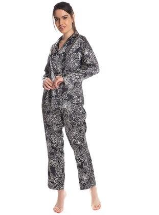 Black - V neck Collar - Multi - Pyjama